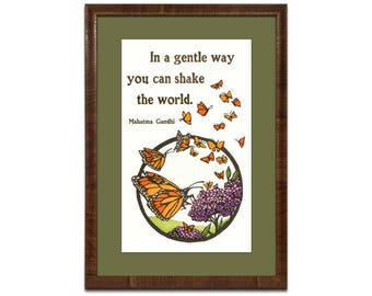 """Framed Yoshiko Yamamoto """"In a Gentle Way"""" Signed Limited Edition Letterpress Print"""