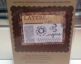 Unity Stamp Layers of Life spring inspired red rubber stamp set Unused