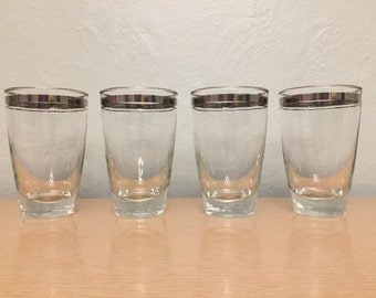 25% SALE *** Four+ Tapered High Ball Glasses / Tumblers with Silver Stripes & Silver Rim by Libbey