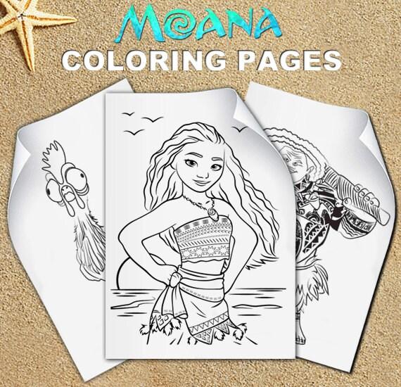 Free Colouring Pages Moana : Vaiana etsy