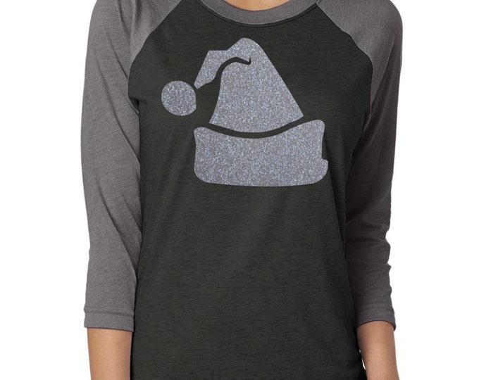 Raglan Christmas Shirt . Silver glitter Santa Glitter hat shirt . christmas tee- Christmas shirt - small, medium, large, XL, XXL, XXXL