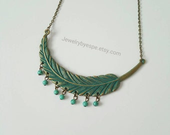 Leaf Necklace, Mint Necklace, Turquoise Necklace, Statement Necklace, Boho Necklace, Minimalist ,Choker , Tribal, vintage