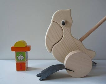 Unfinished unpainted blank wooden toy, Push toys, Wooden Pelican, Wooden Push Along Toy, wood toy for painting, decoupage