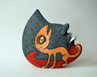 art object - ceramic - face - half moon - art - ceramic sculpture - sculpture