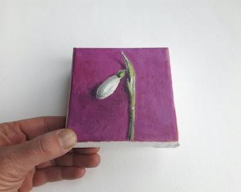 original acrylic painting, flower painting, tiny painting, mini painting, floral art, small painting, pink painting