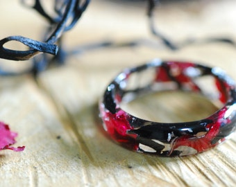 Black and Red Ring, Mermaid Resin Ring, Nature Flower Sea Ring, Real Algae Ring, 925 Silver Flakes Resin Ring, Unique Engagement Ring Gift