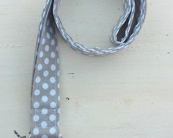 White polka dot lanyard with faux pearl embellishment, ID keeper, name badge holder, name tag holder, key holder
