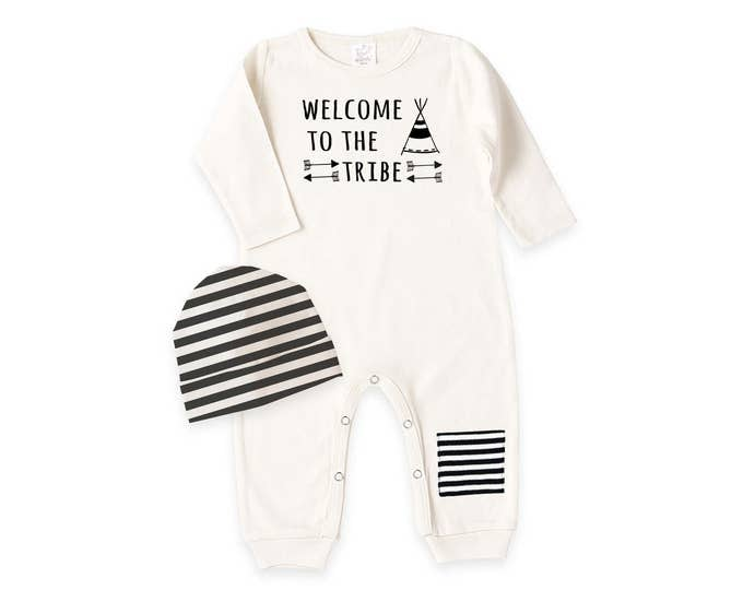 Newborn Coming Home Bodysuit, Welcome to Tribe Baby Coming Home, Unisex Baby Knee Patch Romper, Welcome to the Tribe Bodysuit, Tesababe