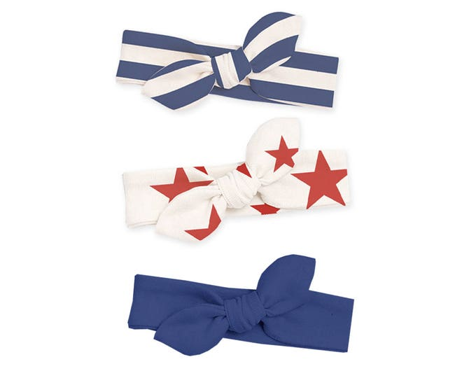 SPECIAL SALE! Newborn 4th of July Headbands, Newborn Girl Headband, Baby Headwrap, Baby Girl Bow Headband, Baby Knot Headband HB59BBIIO0000
