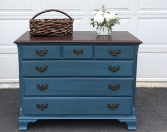 Vintage Hand Painted Dresser, Cottage Style Chest of Drawers, Distressed Server