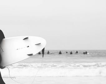 Surfer photography, beach photography, surf wall decor, surfing, people, black and white, surf board, coastal decor, home decor, wall decor