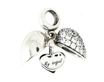 Sterling Silver Open Heart My angel Dangle Screw-on Charm Bead fits Pandora Biagi Chamilia Bracelets