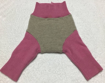 SMALL Upcycled 100% Wool Shorties tan and pink