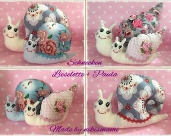 "Embroidery ""snails Lieselotte + Paula"" in the hoop 13 x 18 cm frame"
