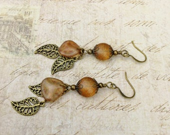 Topaz Earrings, Golden Earrings, Gold Earrings, Brown Earrings,Leaf Earrings, Boho Earrings, Long Earrings, Czech Glass Beads, Gifts for Her