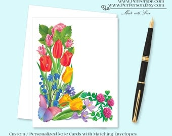 Free Ship!  Set of 12 Personalized / Custom Notecards, Boxed, Blank Inside, Floral, Flower, Tulips, Colorful, Monogram, Name, Initials