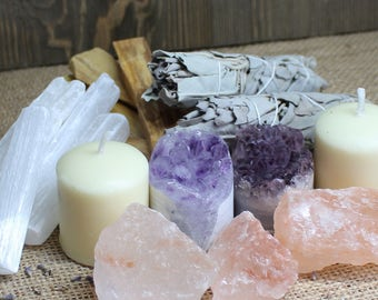 Cleansing Set Home Cleansing Crystals and Sage Kit Gift for New Home Raw Crystal Healing Crystals and Stones Clearing Smudge Kit Bohemian