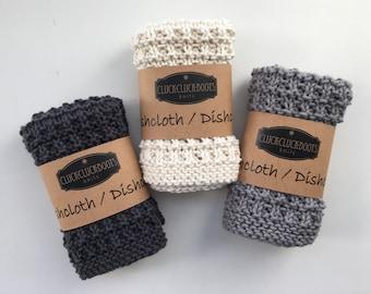 Knitted Washcloth / Dishcloth Set - Set of 3 * Dark Grey, Light Grey and Natural