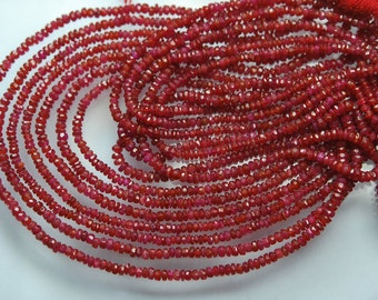 14 Inches Strand, Super Finest, AAA Natural Ruby Red Longido Ruby Faceted Rondelles, Size 2.5-2.70mm