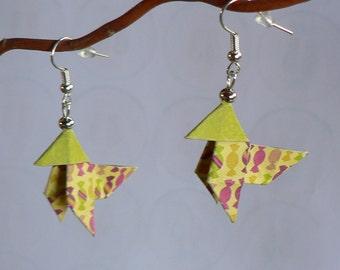 Boucles d'oreilles Origami Cocottes Papier Bonbons.