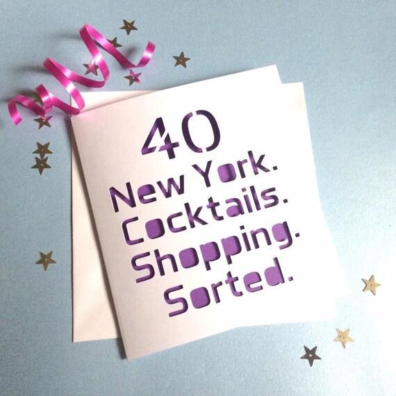 40th Card 40th Birthday Card New York Card 50th Card