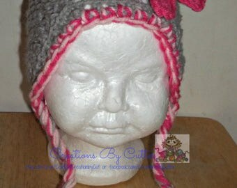 Beanie Hat, Costume, Photo Prop, with Double Flowers, Ear flaps or Trapper Style Hat, Ties, Crochet