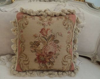 Beautiful Vintage French Aubusson Roses Pillow Pink Pastels Shabby Chic Neutrals