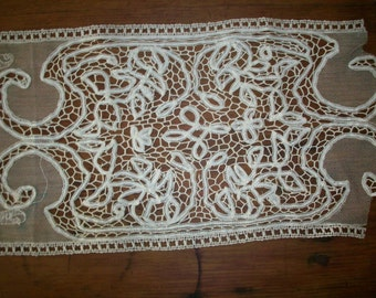 Antique lace french origin 1900 linen or fine cotton   vintage supplies
