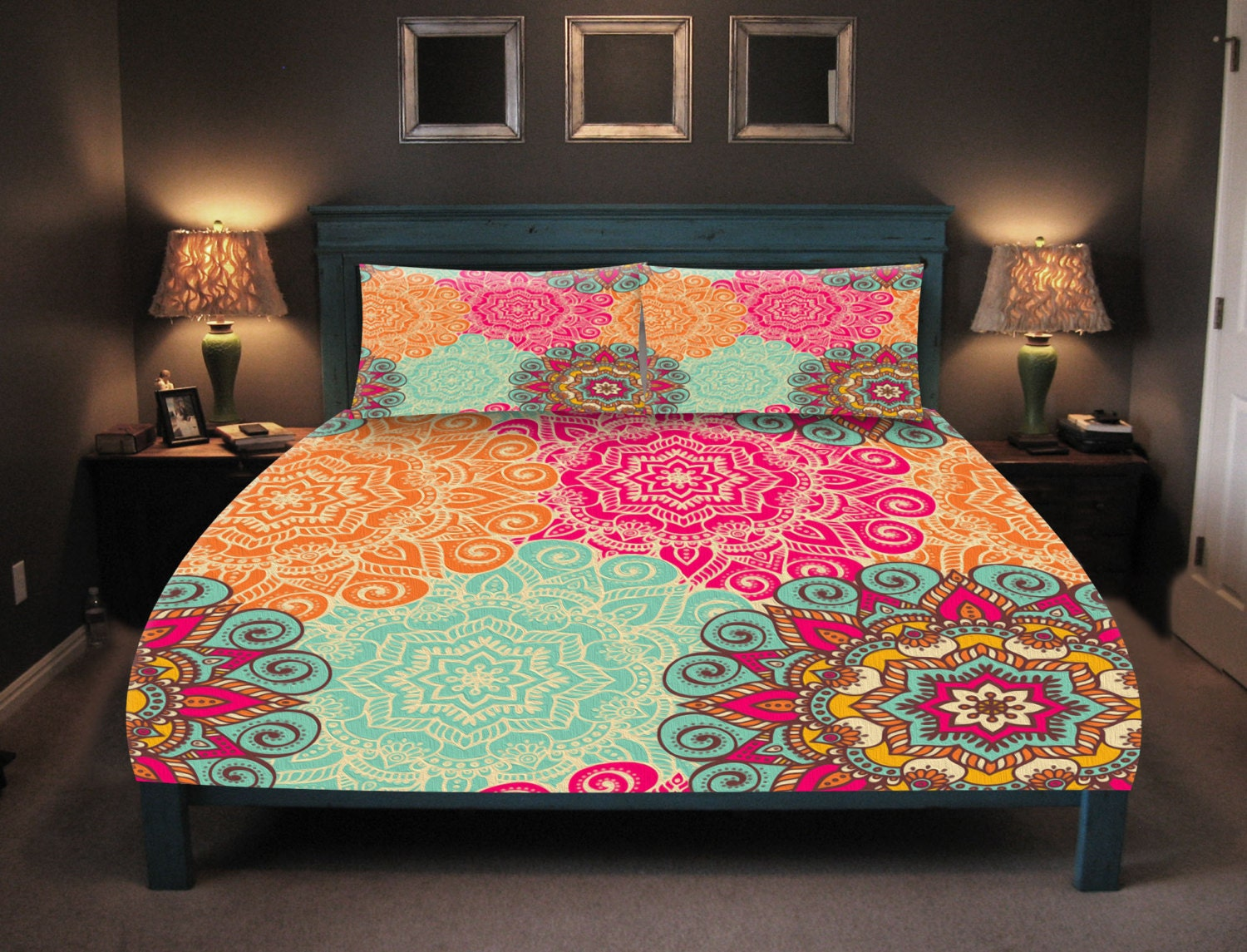 Boho Chic Bedding Duvet Cover Set Coral Turquoise Pink