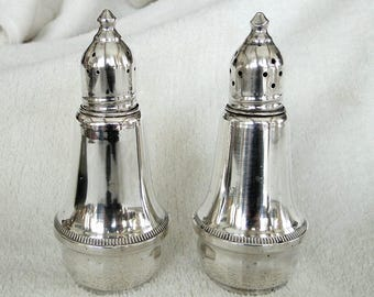 Vintage 1940s Tall STERLING SILVER Glass Lined Salt and Pepper Shakers with Screw on Tops marked Duchin