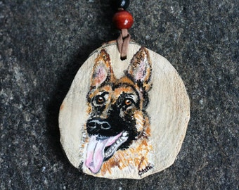 Shepherd Dog Ornament,Christmas Ornament, Hand-Painted Car Mirror decoration  on Recycled Tree Trunk Slice for Dog Lover