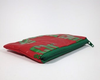 Red wallet, purse, zipper pouch, eco friendly, gift for her, gift for him, coin purse, sustainable, recycled pouch, red bag