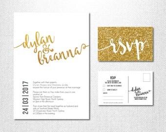 Gold Glitter Wedding - Gold Invitations - Gold Glitter Invitations - Sparkle Wedding Invitations - Metallic - Yellow Gold Invitations