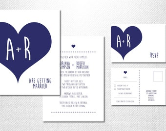 Navy Wedding Suite ~ Navy Invitation Suite ~ Navy Invite Suite ~ Navy Wedding Invitation ~ Navy Heart Invite ~ Navy Blue Invitation