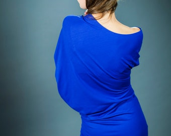 Blue/purple asymmetric jersey dress