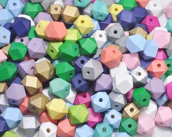 20pcs Mixed color Geometric Wood Beads,Hand Painted wood Beads 15mm,Polygonal,DIY Geometric necklace/ keyring,Make jewellery for selling