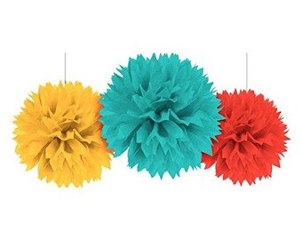 On Sale! Set Of 3 Large 16 Inch Yellow, Blue & Red Fluffy Tissue Ball Decorations  - Candy Buffet Backdrop - Fun Fiesta Party Decor!