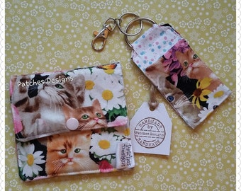 Tampon Holder Privacy Pouch Feminine Products Items Discreet Purse Lipsalve Pouch Cat and Daisy Fabric
