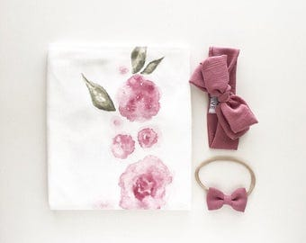 Organic Baby Swaddle Blanket - Watercolor Floral Swaddle | the Kate | Exclusive print to Finn & Olive