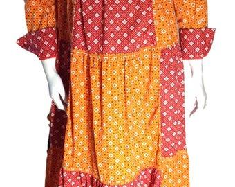 Bill Atkinson Glen of Michigan 1960s Prairie Cotton Patterned Maxi Full Length Sundress - Modern Size Small - Medium