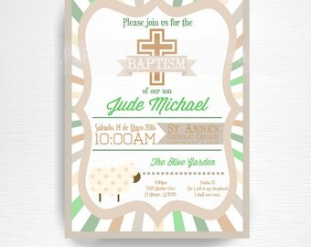 Lamb Baptism Party Printable Invitation Brown Green Cream Baptism Invite Gender Neutral Boy Invitation