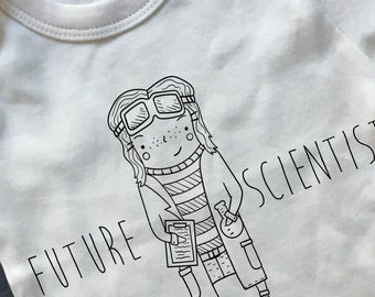 Future Scientist - Science March, organic baby clothes, Science matters, feminist baby shirt, geek baby shirt, she persisted bodysuit