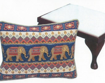 TP 026 Elephants Walking Right Tapestry Needlepoint Footstool Top or Cushion Kit