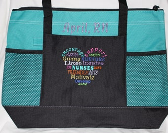 Personalized Nurse Bags; Nursing Tote Bag; Perfect for Nurses and other Professionals; Nurse bag; RN, LPN; Embroidered Graffiti Design