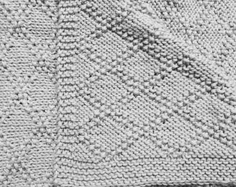 Gray Diamond Knit Baby Blanket