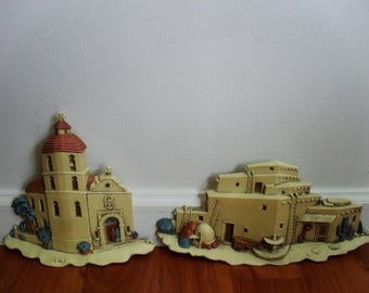 Vintage Burwood 3D Spanish Mission Church, Adobe Hacienda, Southwest Wall Decor