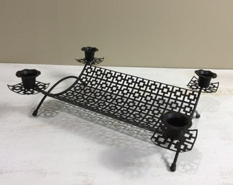 Mid Century Black Metal Candle Holder with Basket / Mid Century Table Decor