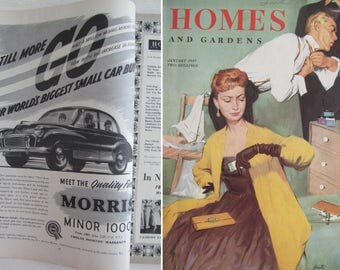 Fabulous fifties! True vintage edition of HOMES & GARDENS MAGAZINE dated January 1957~Great reference source for the 1950s