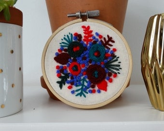 Fall flowers for Aida, Hand Stitched Florals, Hand Embroidered Wall Decor, Handmade Embroidery Art, Embroidery Hoop Wall Art