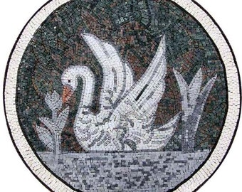 White Swan Medallion Mosaic